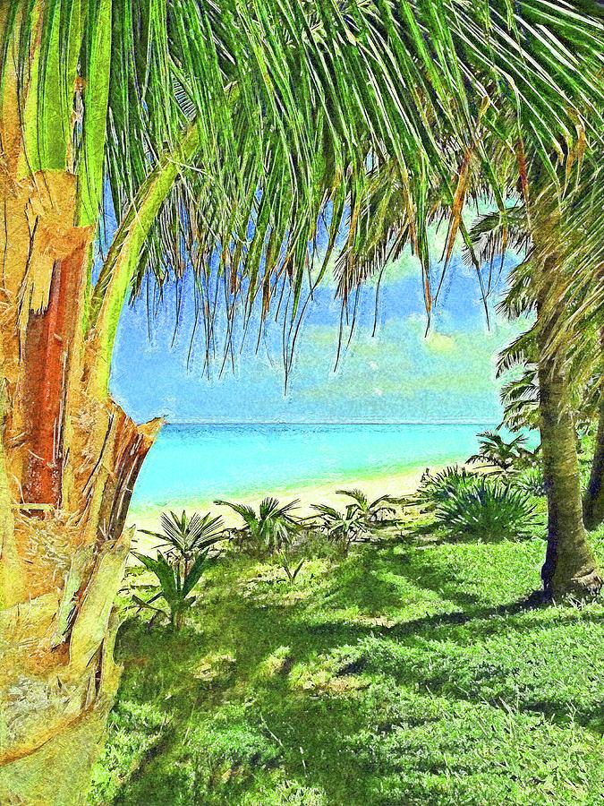 Inviting Bimini Beach Between 2 Palm Trees Impressionism by Island Hoppers Art