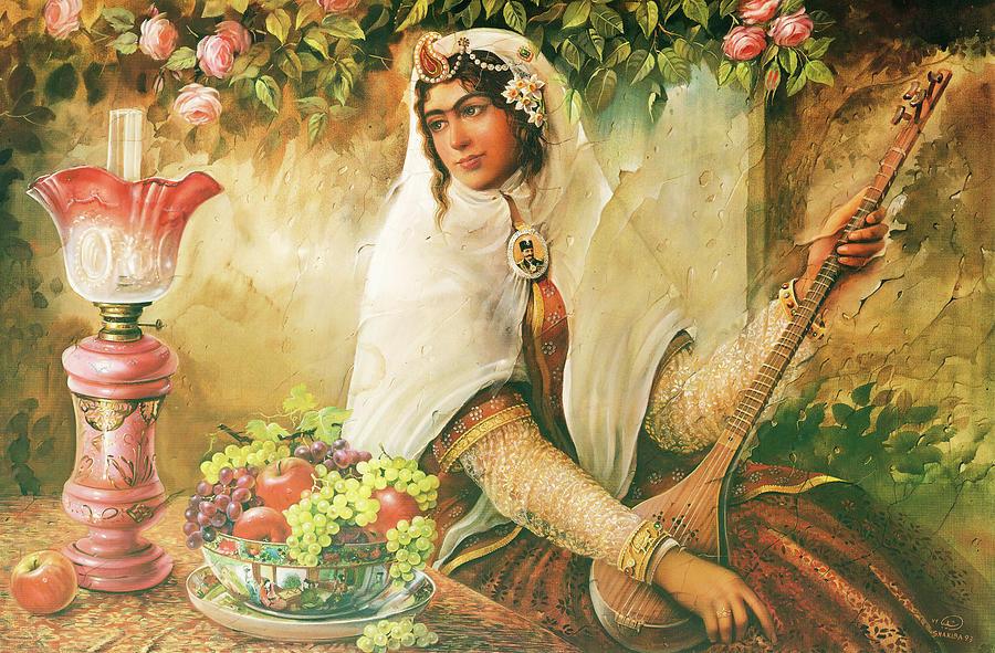 Iran Qajar Era Woman Painting by Shakiba