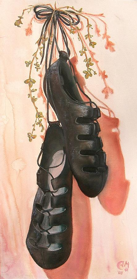 Irish Dance Shoes Painting by Anna Mulfinger