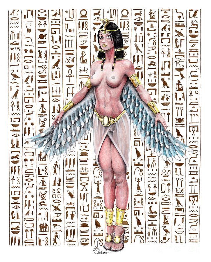 Isis Egyptian god drawing by Murphy Art Elliott