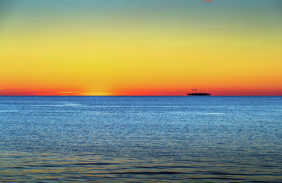 Island Afloat On The Sound At Sunset Photograph