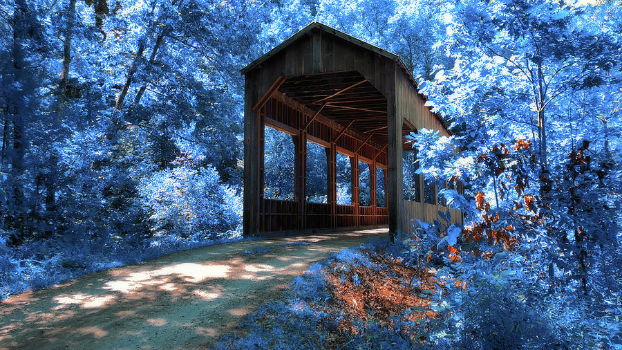 Island Properties Covered Bridge In Infrared Photograph