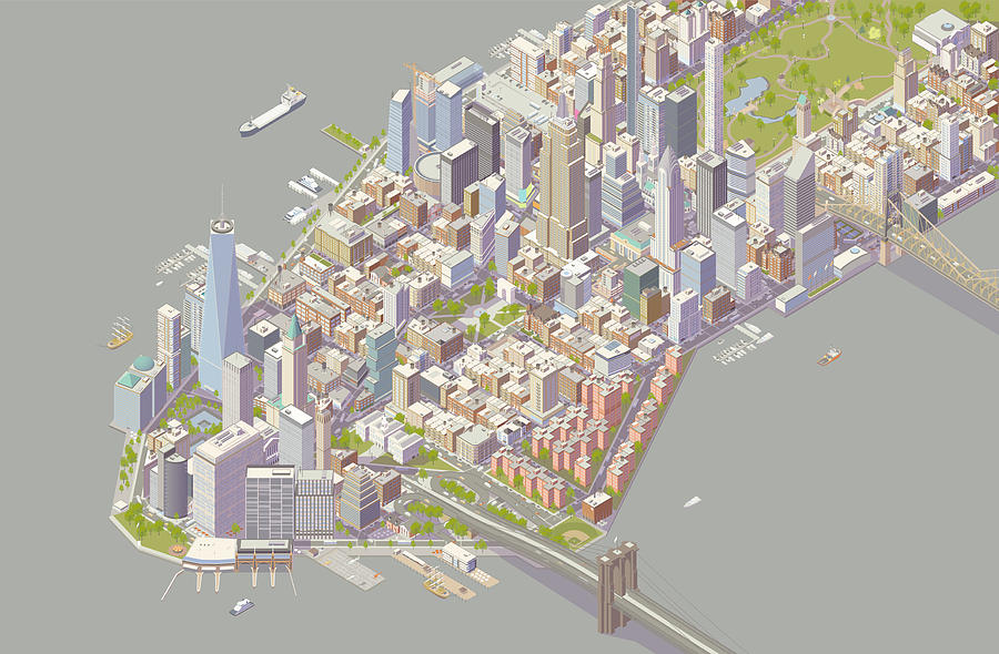 Isometric New York Drawing by Mathisworks