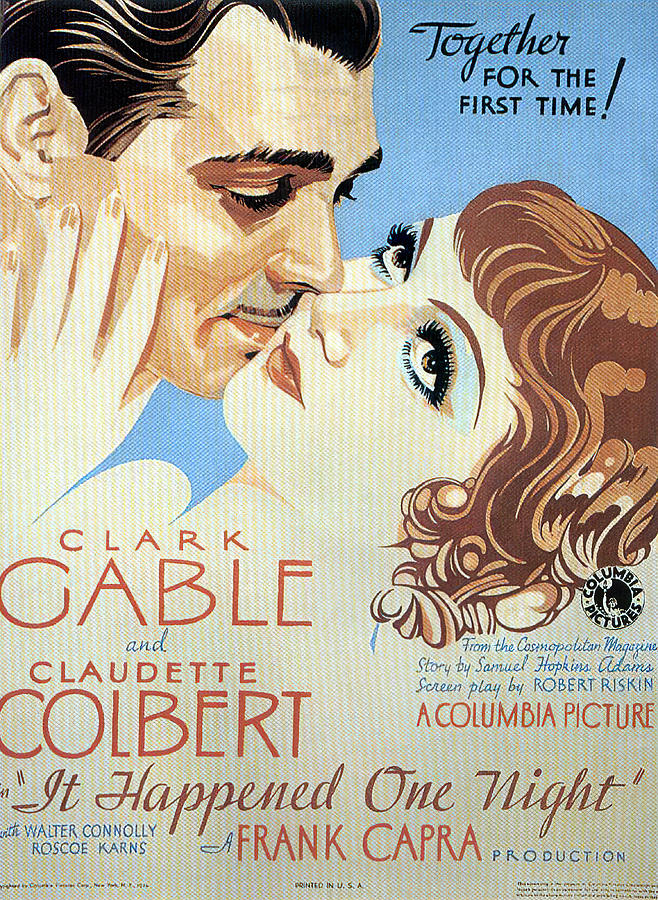 it Happened One Night, With Clark Gable And Claudette Colbert, 1934 Mixed Media