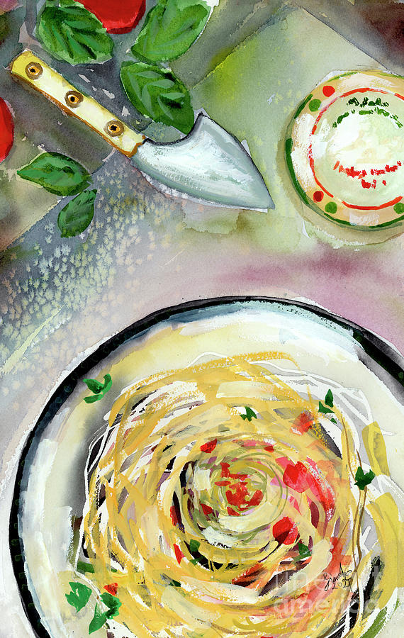 Italian Cuisine Pasta Food Art Watercolors Painting by Ginette Callaway