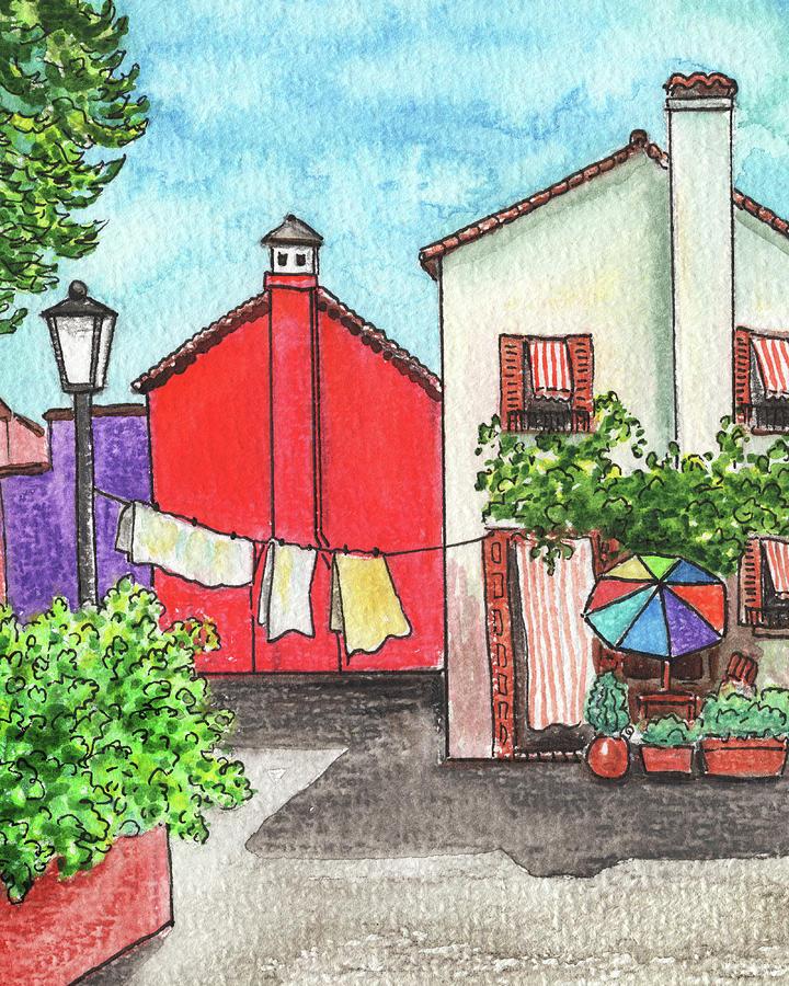 Italian Charm Burano Venice Watercolor Painting