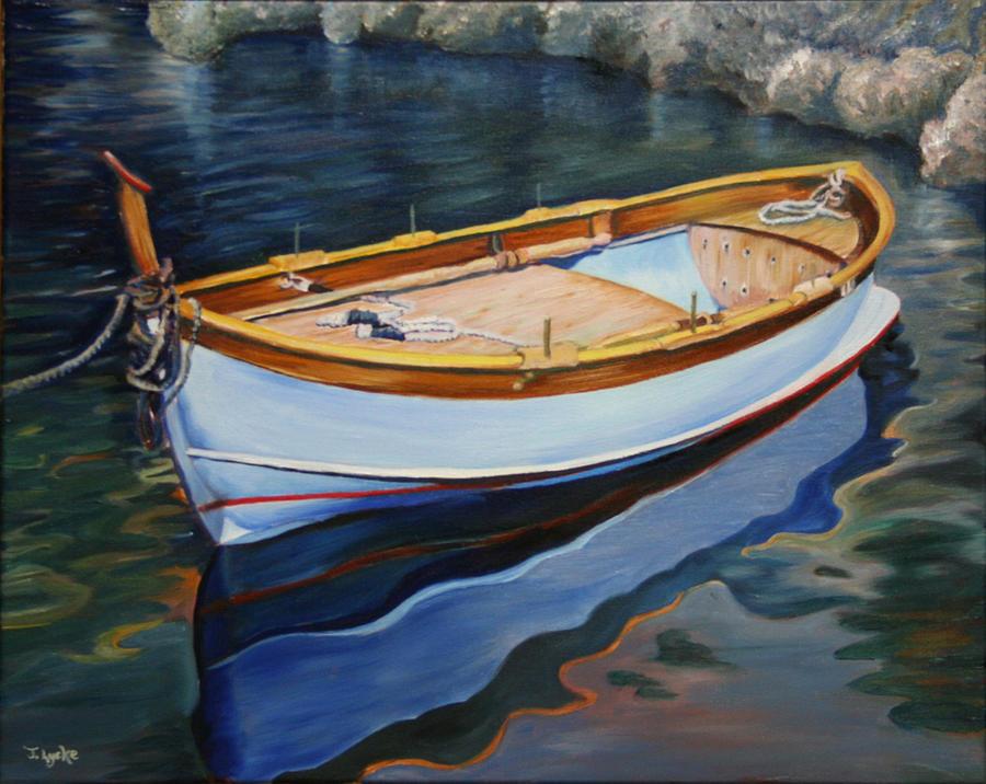 Boat Painting - Italian Fishing Boat on Water by Jennifer Lycke