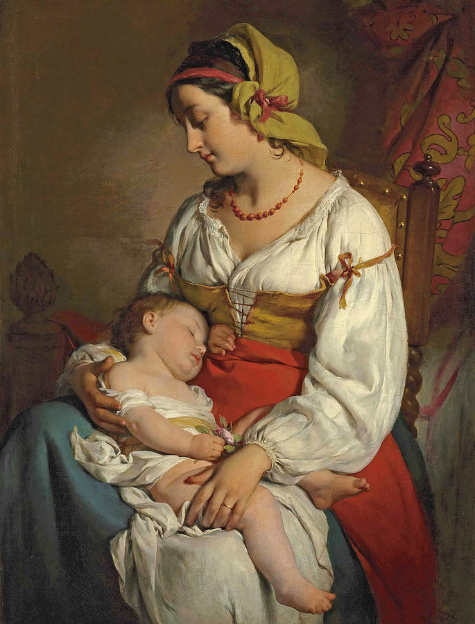 Italian mother with child by Friedrich von Amerling