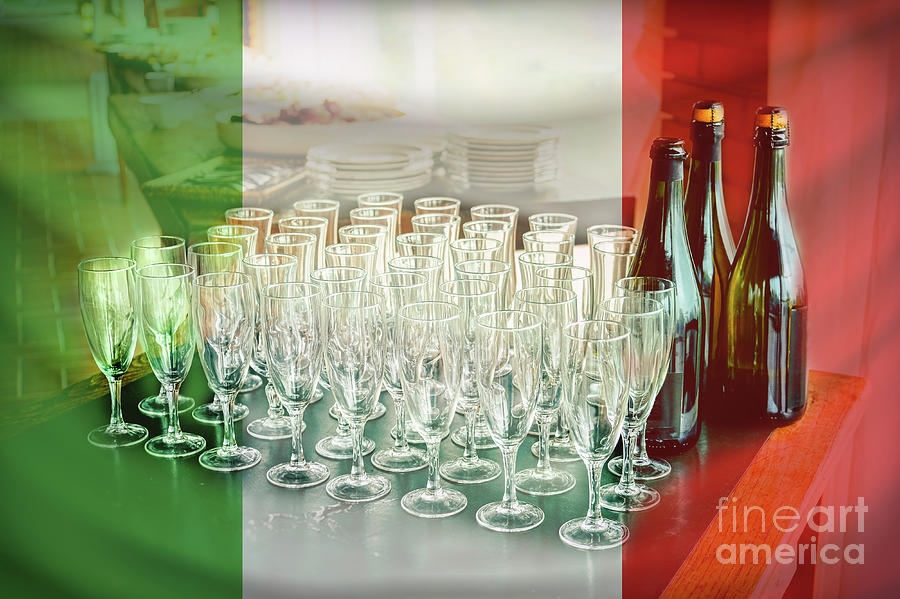 Italian Photograph - Italian Wine Flag Toasting Many Glasses by Luca Lorenzelli