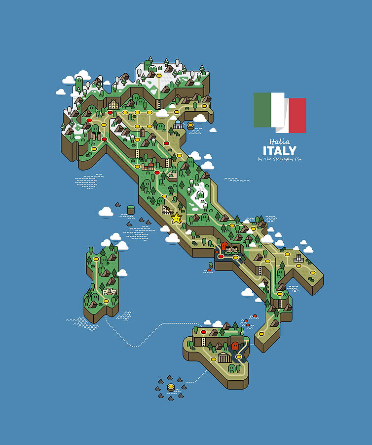 Map Digital Art - Italy Map by The Geography Pin