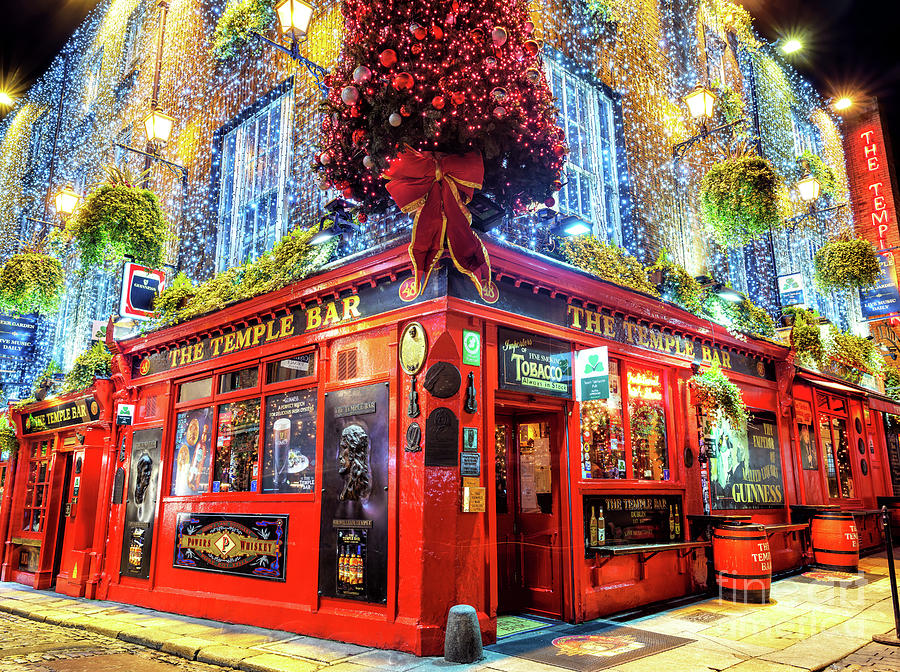 It's a Temple Bar Christmas in Dublin by John Rizzuto