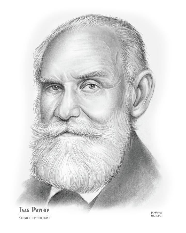 Nobel Prize Drawing - Ivan Pavlov - pencil by Greg Joens