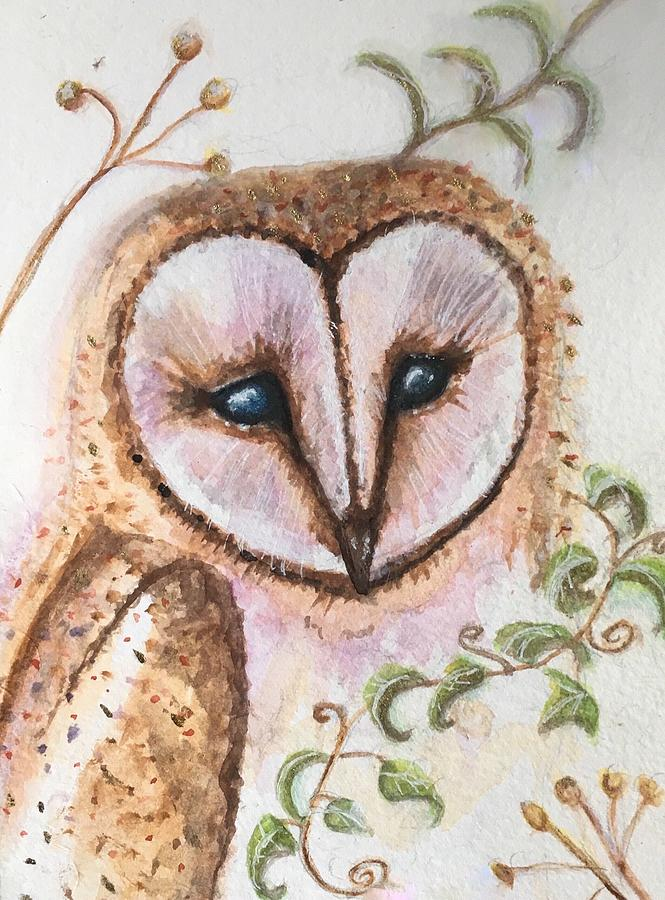 Watercolor Painting - Ivy Barn Owl  by Sharon May Nicol