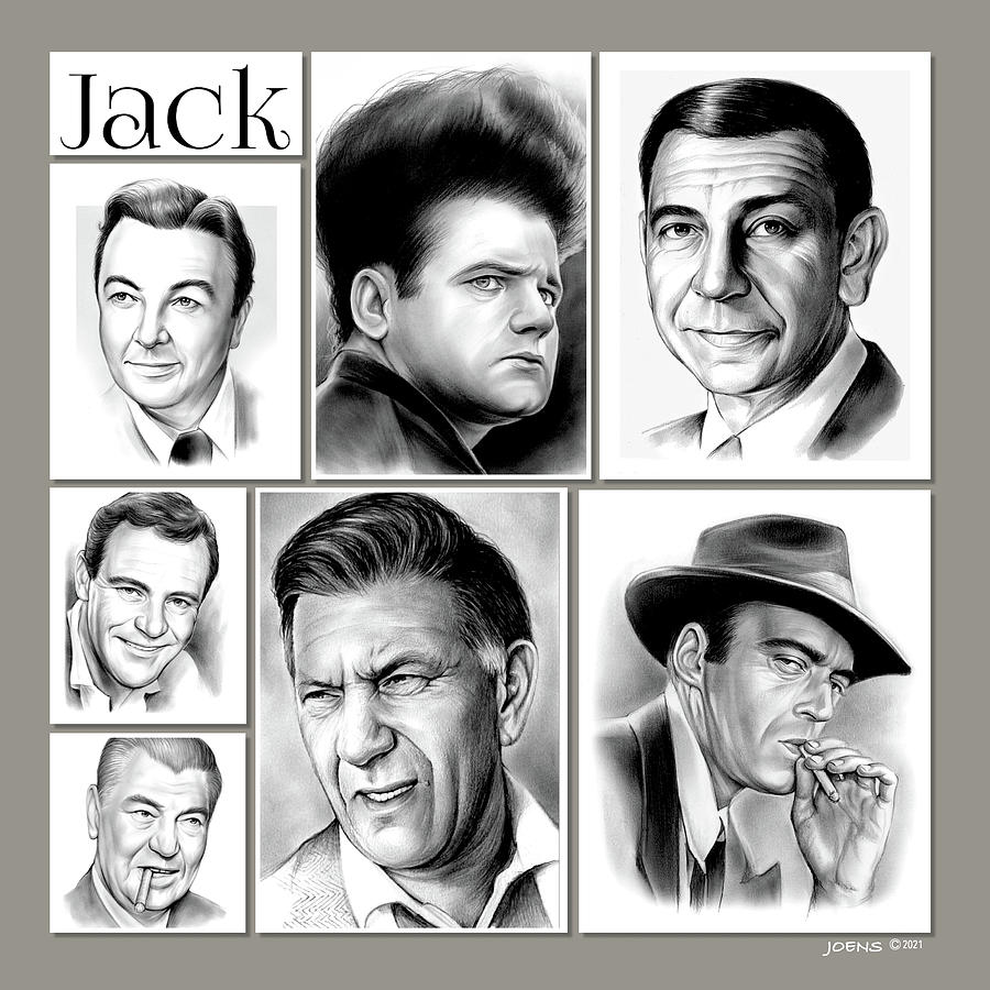 Actors Drawing - Jack Collage - pencil by Greg Joens
