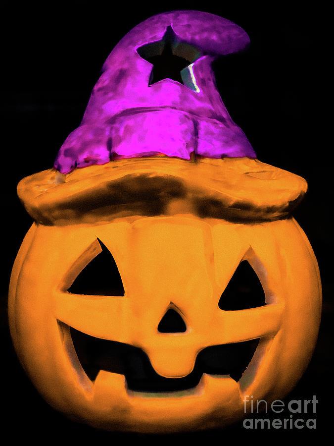 Pumpkin Carving Photograph - Jack with a Purple Hat by Joy Lions