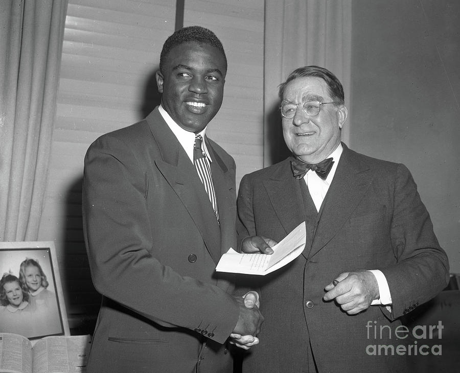 Jackie Robinson and Branch Rickey Photograph by Transcendental Graphics