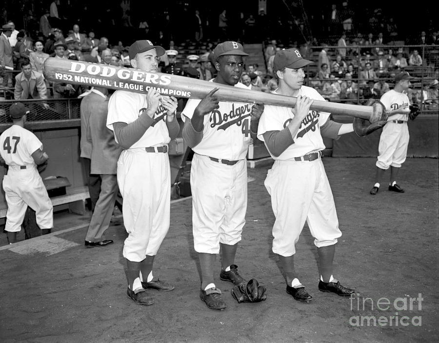 Jackie Robinson, Duke Snider, and Pee Wee Reese Photograph by Olen Collection