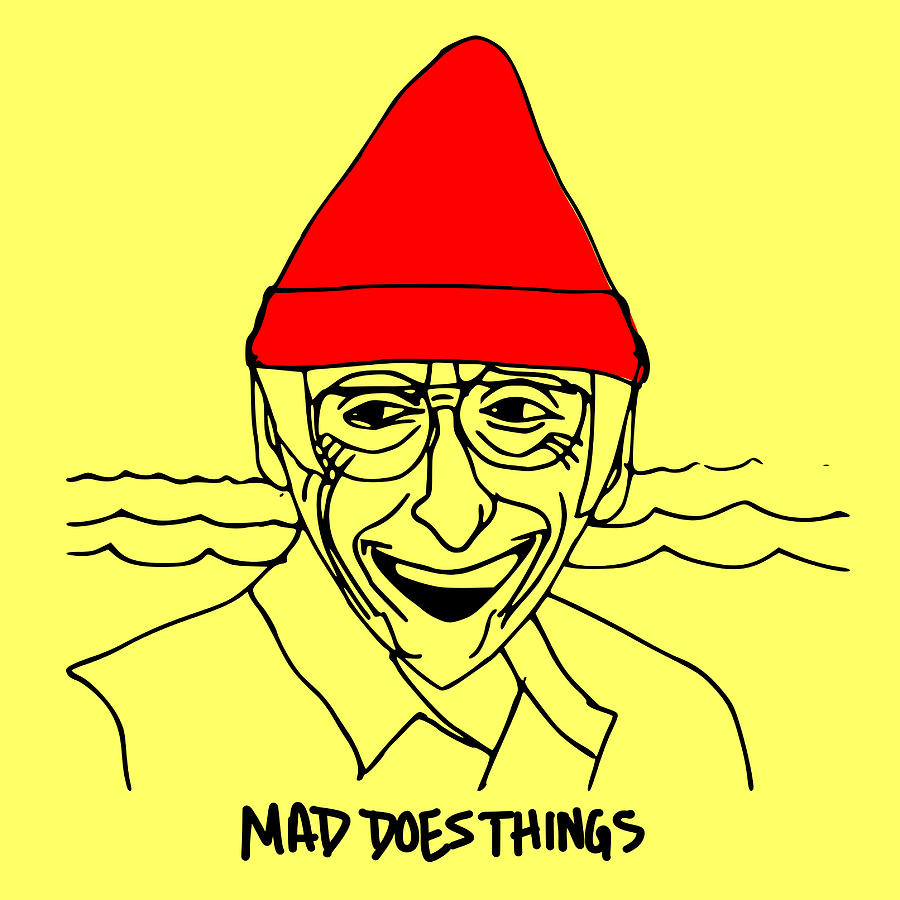 Jacques Cousteau - line Drawing by Madeline Dillner
