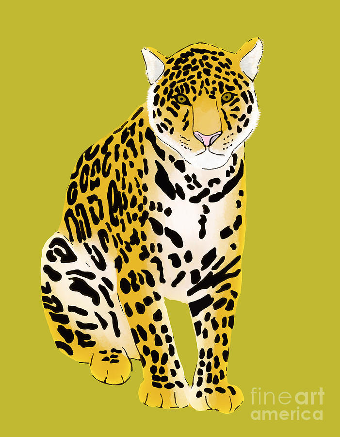 Jaguar Sitting Digital Art