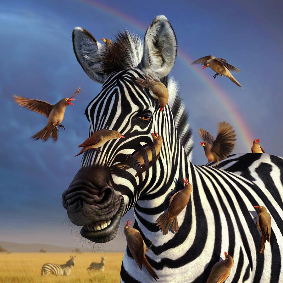 Zebra Digital Art - Jailbird, A Closer Look by Jerry LoFaro