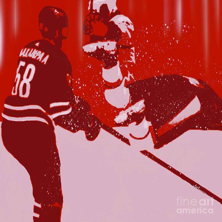 Hockey Painting - Jani Hakanpaa Hit by Jack Bunds