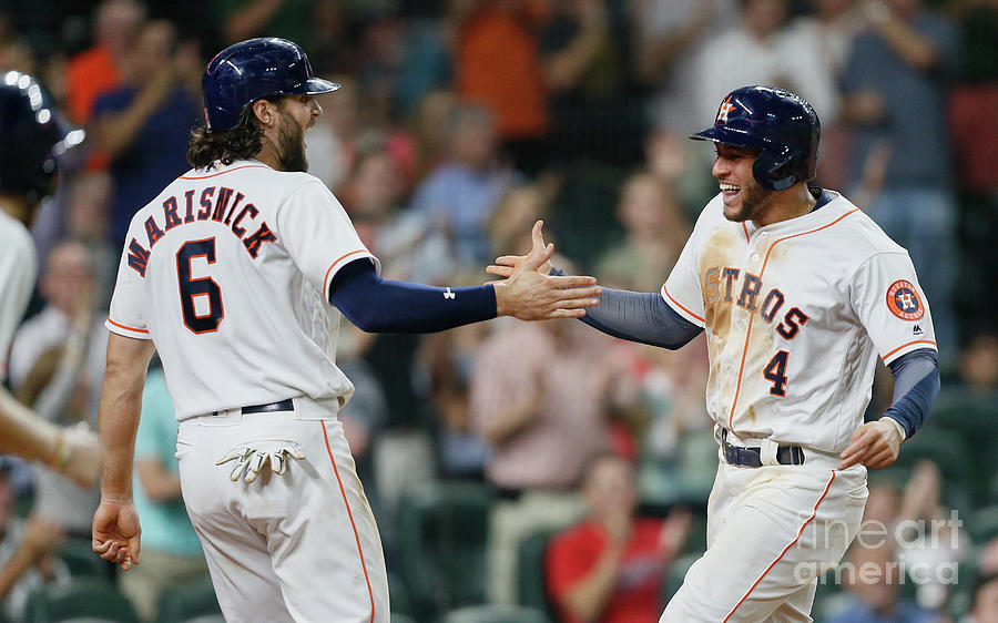 Jake Marisnick and George Springer Photograph by Bob Levey