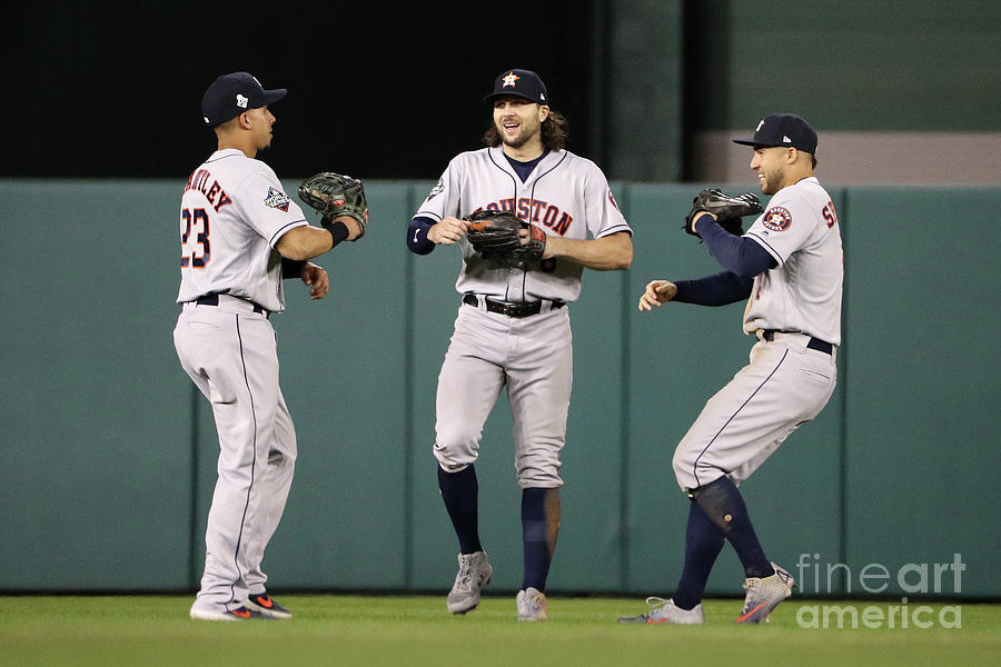 Jake Marisnick, Michael Brantley, and George Springer Photograph by Patrick Smith