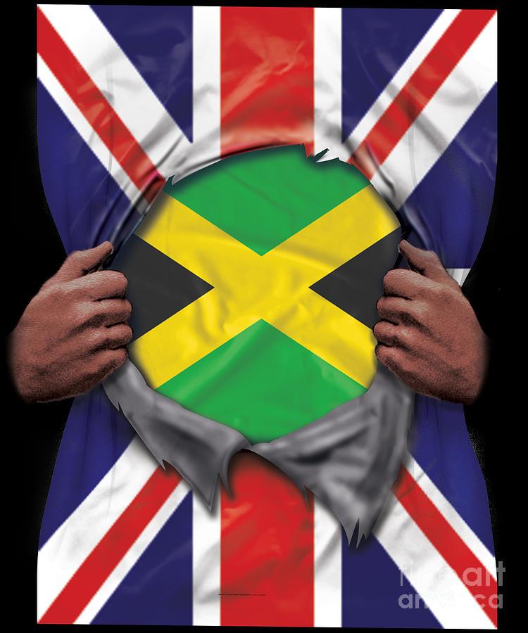 Jamaica Flag Great Britain Flag Ripped Digital Art By Jose O