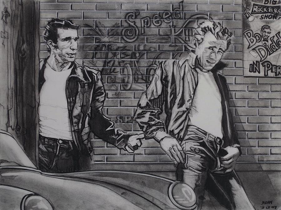 Americana Drawing - James Dean Meets The Fonz by Sean Connolly