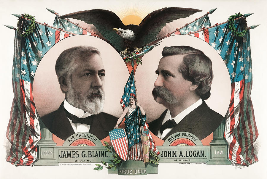 James G. Blaine And John A. Logan Election Poster - 1884 Mixed Media