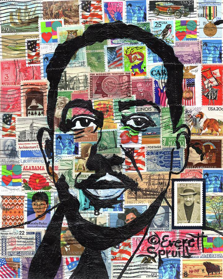 African Mask Mixed Media - James Mercer Langston Hughes by Everett Spruill