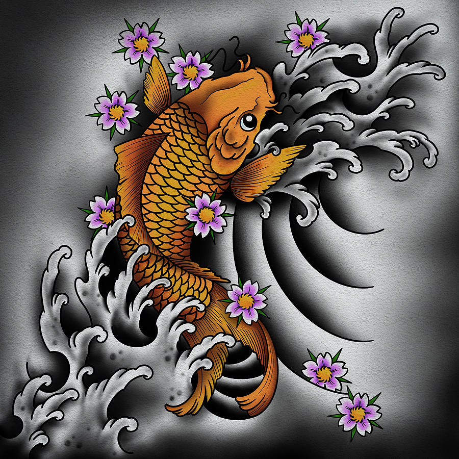 Japanese Koi Fish Digital Art