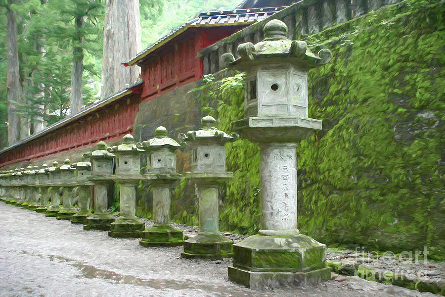 Japanese Lanterns Digital Art - Japanese row of lanterns by Susanne Arens