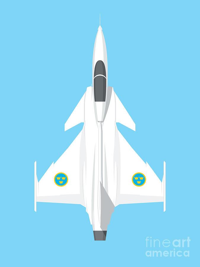 Gripen Digital Art - Jas 39 Gripen Fighter Jet - Sky by Organic Synthesis