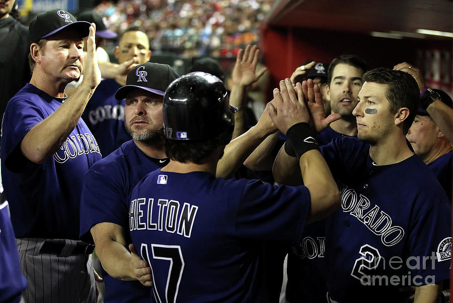 Jason Giambi, Todd Helton, and Troy Tulowitzki Photograph by Christian Petersen