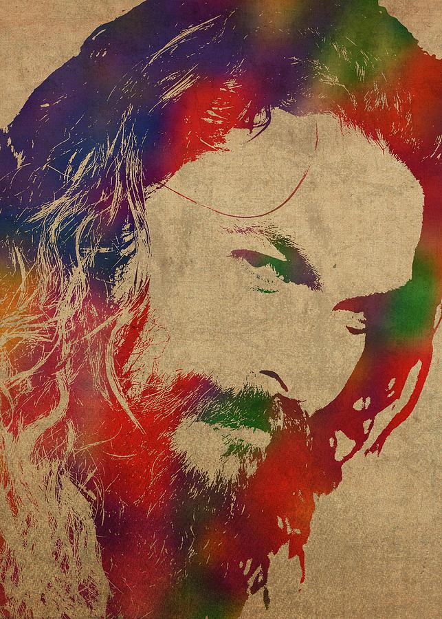 Jason Momoa Mixed Media - Jason Momoa Watercolor Portrait on Distressed Canvas by Design Turnpike