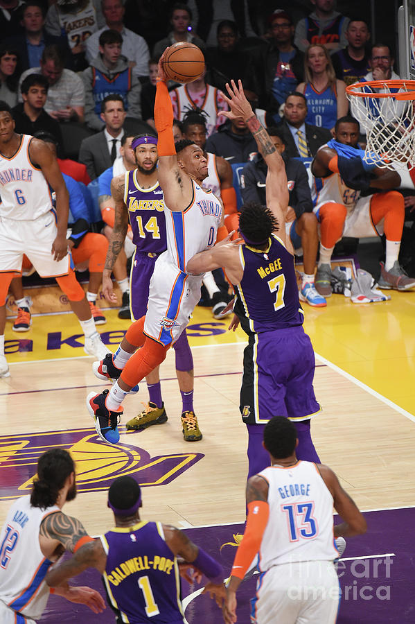 Javale Mcgee and Russell Westbrook Photograph by Adam Pantozzi