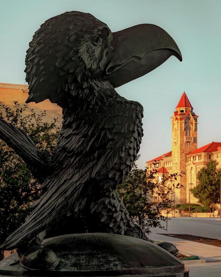 Jayhawk Sculpture And Ku Skyline - Lawrence Kansas Photograph