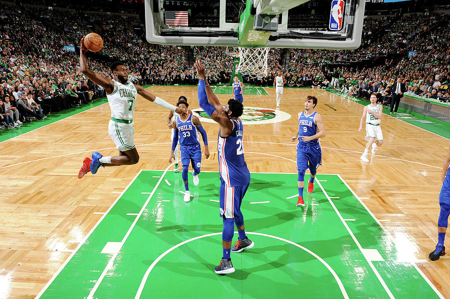 Jaylen Brown and Joel Embiid Photograph by Brian Babineau