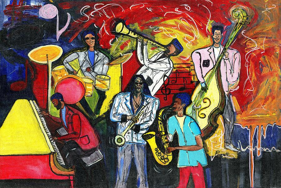 Cubism Painting - Jazz Abstracts by Everett Spruill