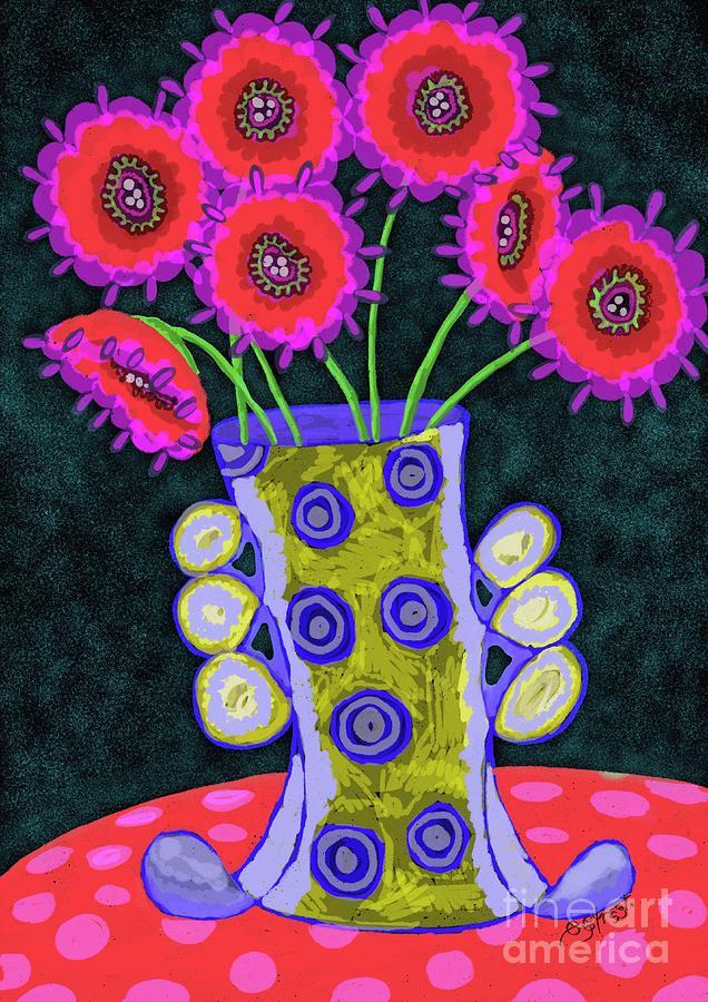 Jazzy Vase With Pink Flowers Digital Art