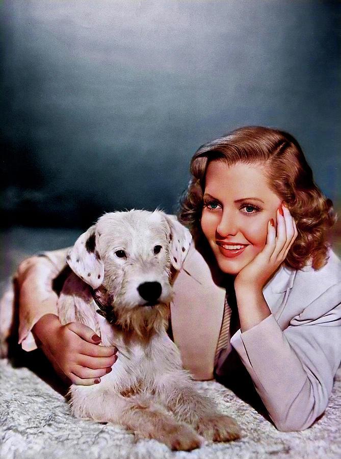 Jean Arthur - With Dog Photograph