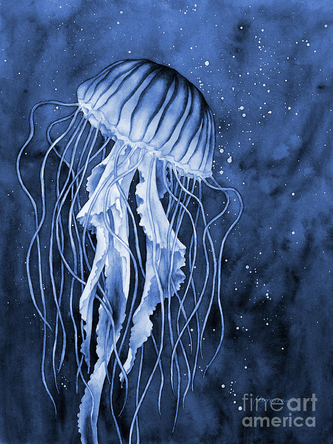 Jellyfish In Blue2 Painting