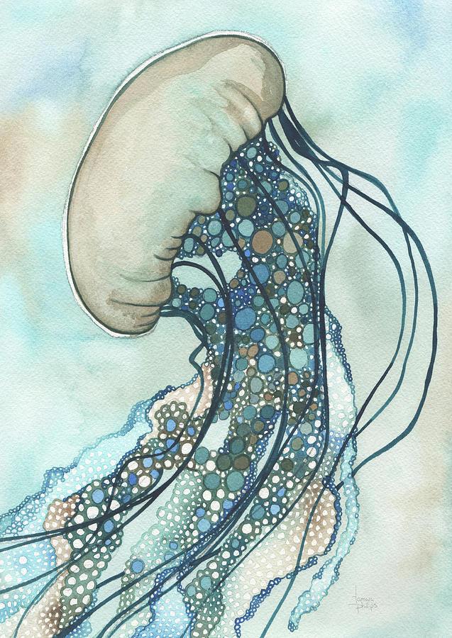 Marine Painting - Jellyfish II by Tamara Phillips