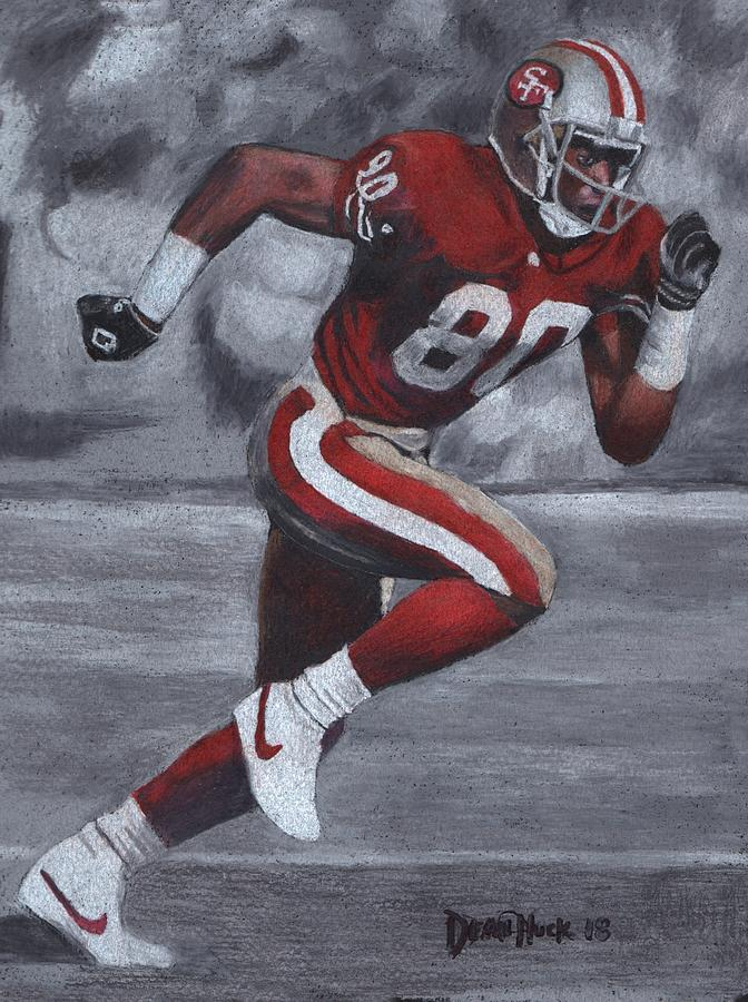 Receiver Drawing - Jerry Rice Runs- Colored Pencil drawing by Dean Huck by Dean Huck