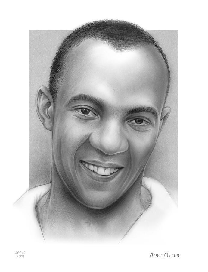 Jesse Owens Drawing - Jesse Owens - pencil by Greg Joens