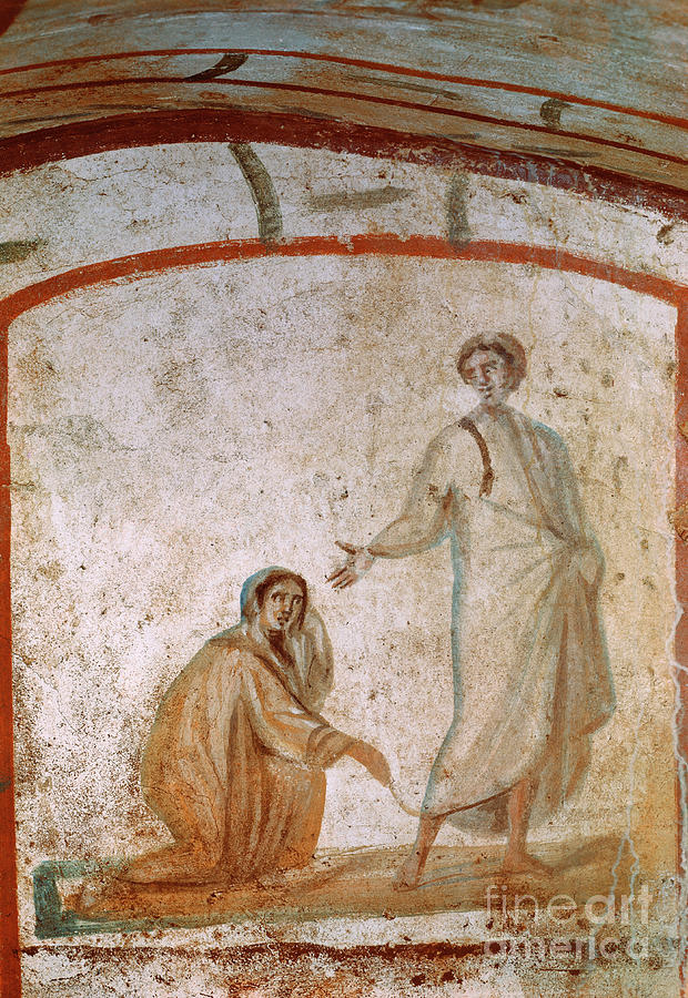 Jesus healing the bleeding woman by Anonymous