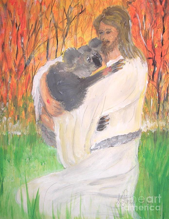 Jesus Holding a Koala Bear by Karen Jane Jones