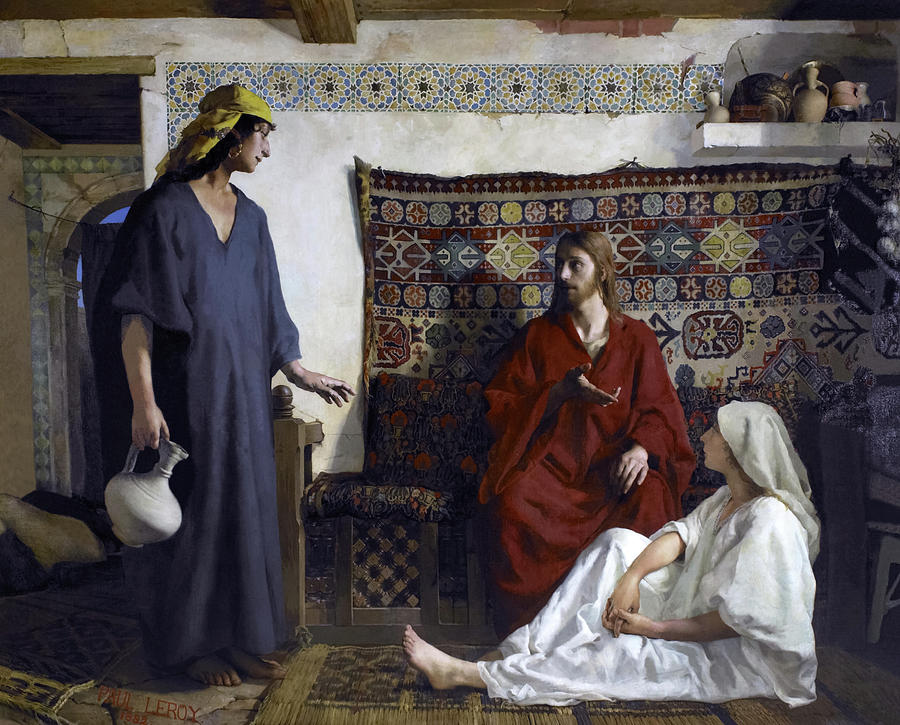 Leroy Painting - Jesus With Martha And Mary by Paul Leroy