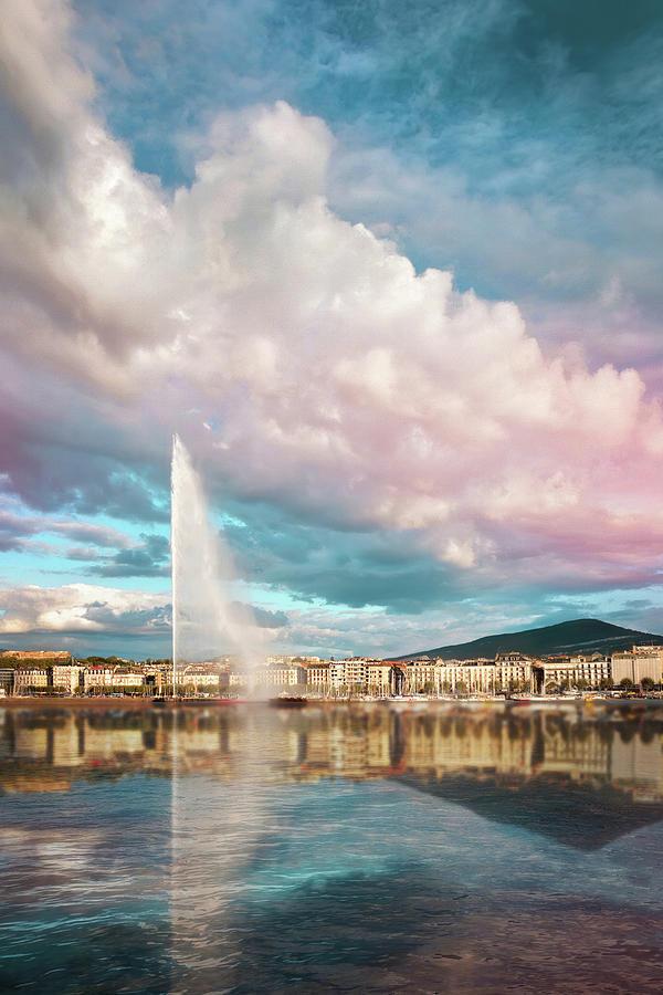 Geneva Photograph - Jet DEau Geneva Skyline  by Carol Japp
